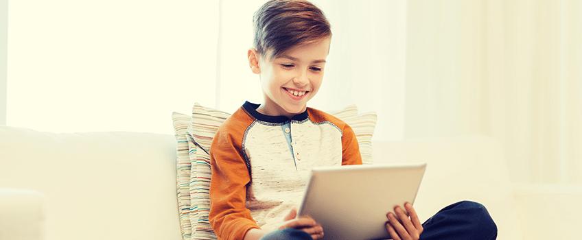 Kid on tablet using app