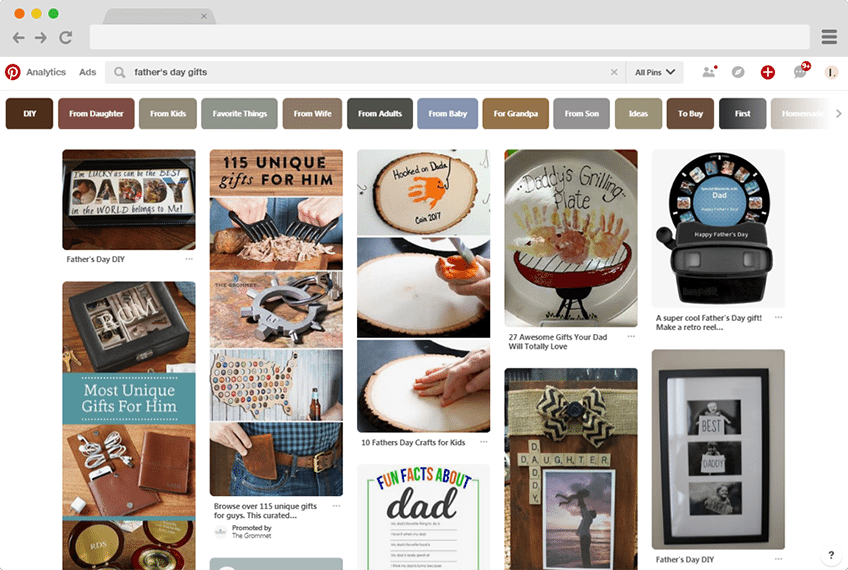 Pinterest Search for Father's Day Gift Ideas
