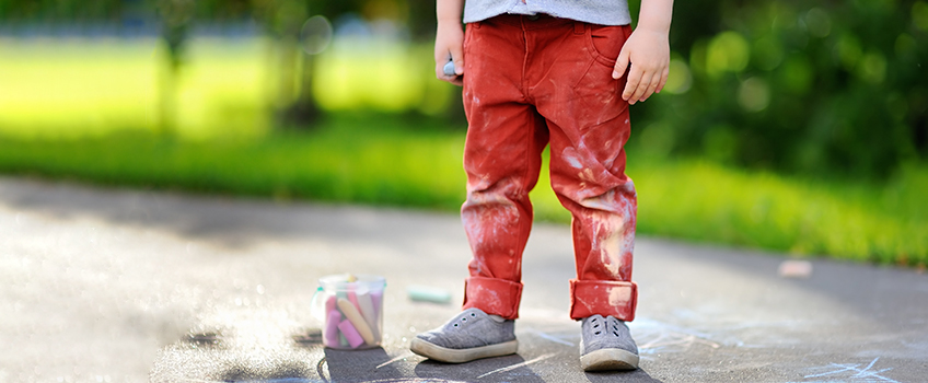 Dirty pants on child outside