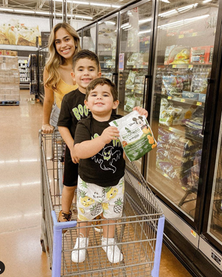 Woman with Children in Grocery Store