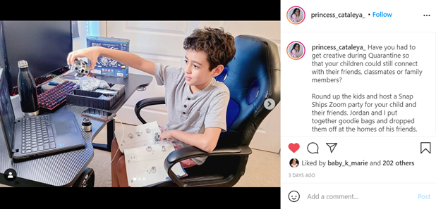 Social Media Post of Boy Showing Toy for Friends on Video Conference